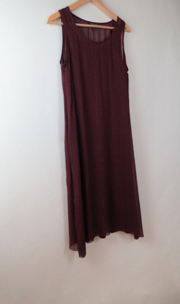 Eileen Fisher maroon print shift slip silk dress dress dress XS c566b9