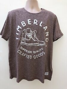 Timberland-LARGE-L-UOMO-GRAPHIC-testurizzato-Marrone-Beige-T-shirt-Estate-Auth-NUOVO-CON-ETICHETTA