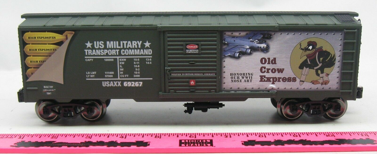 Menards  O Gauge Old Crow Express Commemorative Military Boxcar