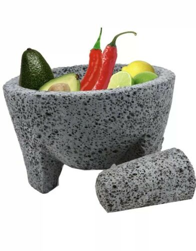 """8/"""" GUACAMOLE  AUTHENTIC MORTAR AND PESTLE HAND CARVED  LAVA STONE SPICE GRINDER"""