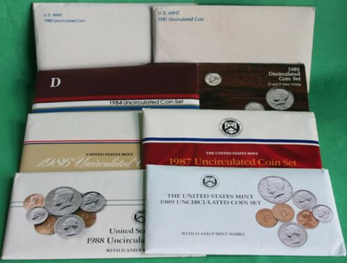 1980 thru 1989 Annual US Mint Uncirculated P D Lot of 8 Sets with 86 Coins