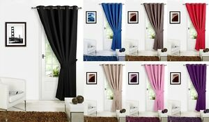 Image is loading BLACKOUT-Thermal-DOOR-CURTAINS-In-EYELET-RING-TOP-