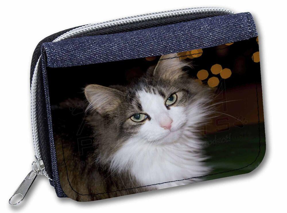 Agressif Beautiful Tabby Cat Girls/ladies Denim Purse Wallet Christmas Gift Idea, Ac-10jw Forte RéSistance à La Chaleur Et à L'Usure