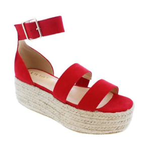 83513cfe28c5 Liliana RASHA-7 Red Ankle Strap Open Toe Natural Espadrille Flatform ...