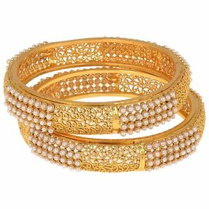 Indian Fashion Jewelry Pearl Bangle Bracelet Bollywood Gold Plated