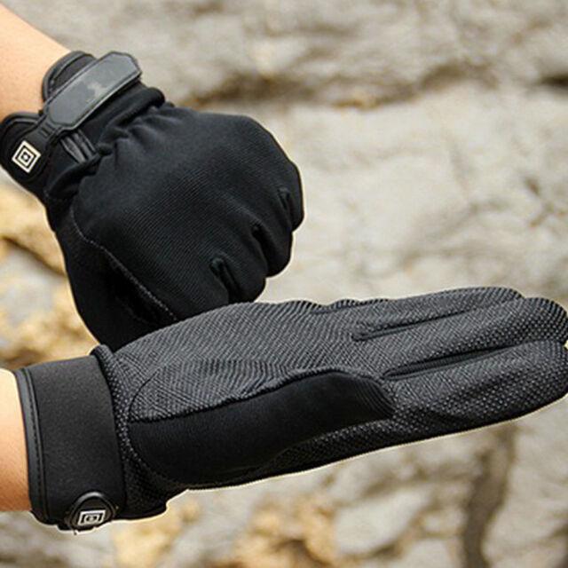 Black Men's Full-Finger Gloves Outdoor Working Gloves Gym Gloves Camping Gloves