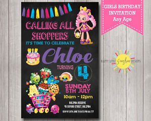 Custom printable girls shopkins birthday invitation ebay image is loading custom printable girls shopkins birthday invitation filmwisefo