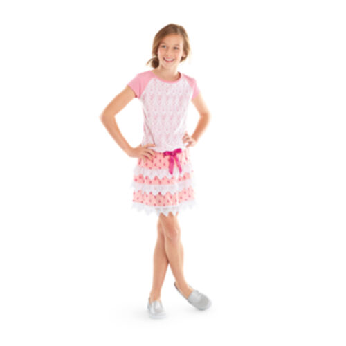 American Girl CL SAMANTHA LACY TIERED SKIRT SIZE 10 Medium for Girl Pink NEW