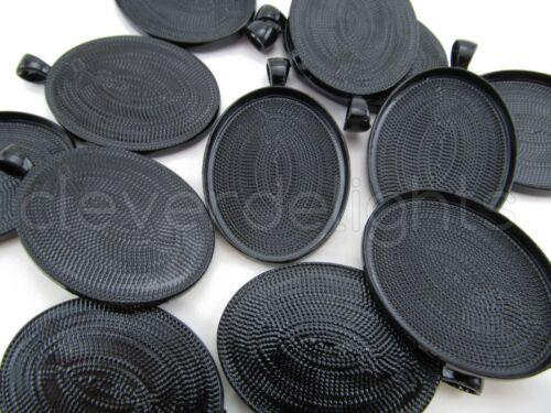 30x40mm Dark Black Color Blanks Bezel Setting 20 Oval Pendant Trays