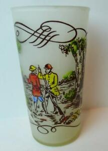 Hunters-and-Dogs-Currier-amp-Ives-Frosted-Glass-Tumblers-Collectible-50-039-s