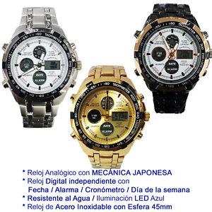 Reloj-De-Pulsera-Luz-LED-Digital-Fecha-Hombres-Acero-Inoxidable-Analogico-Crono