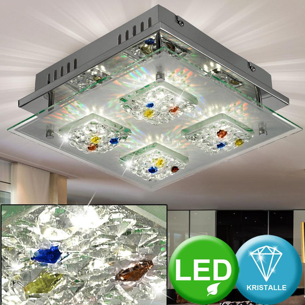 Plafonnier DEL 12W lampe luminaire verre cristal multiFarbeé multiFarbeé multiFarbeé salle de séjour f29c15