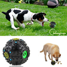 Pet Dog Cat Food Dispenser Squeaky Giggle Quack Sound Training Toy Chew Ball Hot