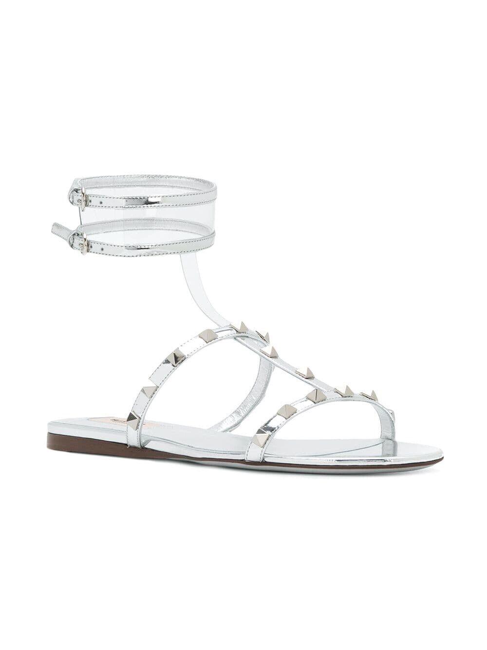 Valentino Moonwalk Rockstud Ankle Strap Gladiator Flat Sandals 36EU 6US  795.00