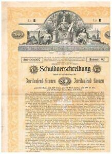 Investitions-Anlehen...Wien, 1902, 2000 Kronen, ungelocht/ Kupons, VF