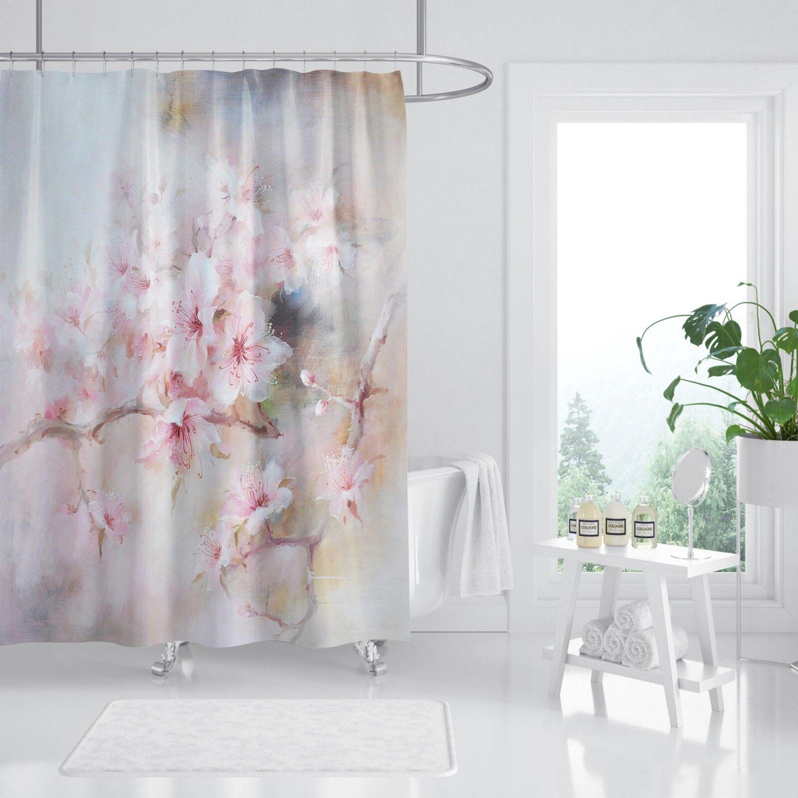 3D Pfirsichblüte 78 Duschvorhang Wasserdicht Faser Bad Daheim Windows Toilette
