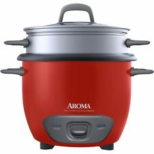 Aroma ARC-743-1NGR Pot Style 6-Cup Cooked Rice Cooker and Food Steamer - Red