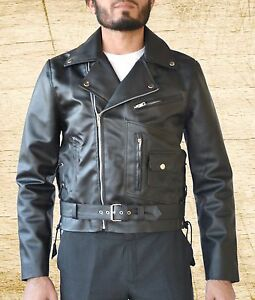 a9407e881 Details about Terminator 2 Judgement Day Arnold Biker Black Leather Jacket  size Small-5XL Men