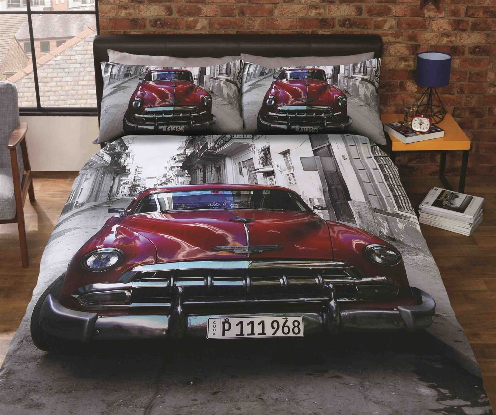 CLASSIC AMERICAN CAR STREET SCENE RED COTTON BLEND KING SIZE 4 PIECE BEDDING SET