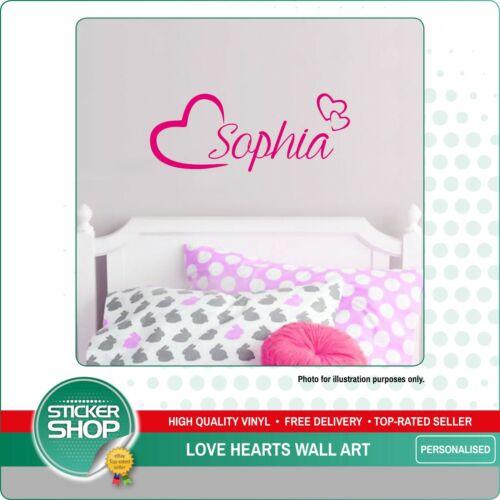 PERSONALISED NAME WALL ART LOVE HEARTS VINYL STICKER GIRLS ROOM BEDROOM NURSERY