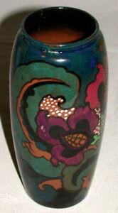 Original-Antique-England-Decoro-Art-Pottery-Floral-Decoration-Vase