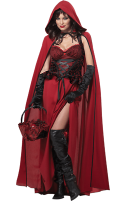 Aggressiv Womens Dark Red Riding Hood Fairy Tale Halloween Fancy Dress Costume