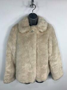 Le-ragazze-Marks-amp-Spencer-Cream-Sera-Party-Fancy-in-pelliccia-sintetica-cappotto-bambini-eta-13