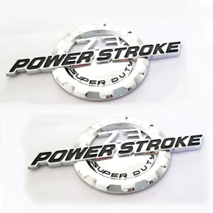 2x OEM 6.4L Powerstroke Emblem POWER STROKE SUPERDUTY Badge W Ford F250 Chrome