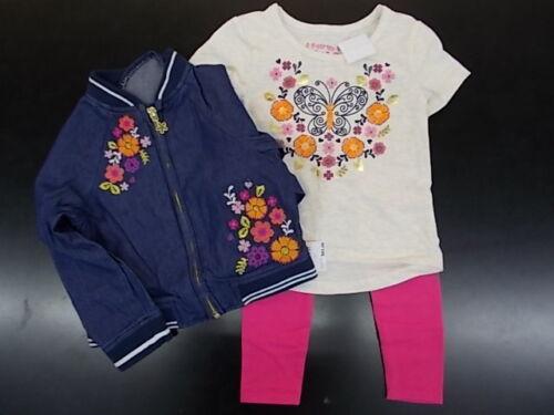 Toddler /& Girls Flapdoodles $65 3pc Floral Jacket//Shirt//Leggings Set Sz 2//2T-6X