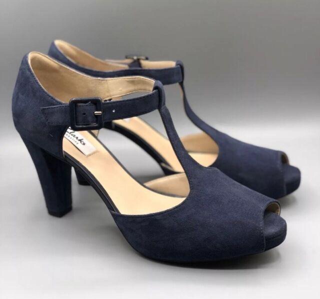 Women Shoes Clarks KENDRA FLOWER Peeptoe heels navy