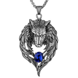 Wolf necklace pendant men women stainless steel him her jewelry image is loading wolf necklace pendant men women stainless steel him aloadofball Gallery
