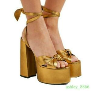 Womens Open Toe Platform High Block Heels Runway Sandals Show Party Formal Shoes