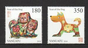 VANUATU-2018-LUNAR-NEW-YEAR-OF-DOG-ZODIAC-COMP-SET-OF-2-STAMPS-MINT-MNH-UNUSED