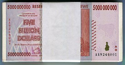 Zimbabwe 5 Billion Dollars x 100 pcs bundle AA//AB 2008 P84 VF surrency bills