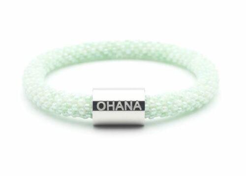 Sashka-Mint-Green-with-Silver-OHANA-Word-Bracelet-8-034-EXTENDED-Charm-Nepal