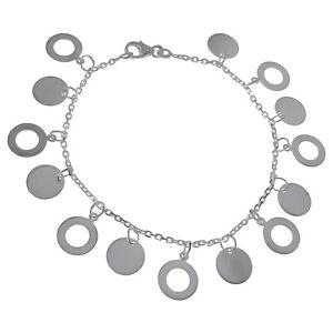 Bracelet Femme disque en Argent 925 - Neuf - Longueur 18 cm -