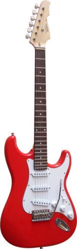 Verstärker GW15,Tasche,Band mit Set Piks!n Saiten E-Gitarre ST5in rot Kabel
