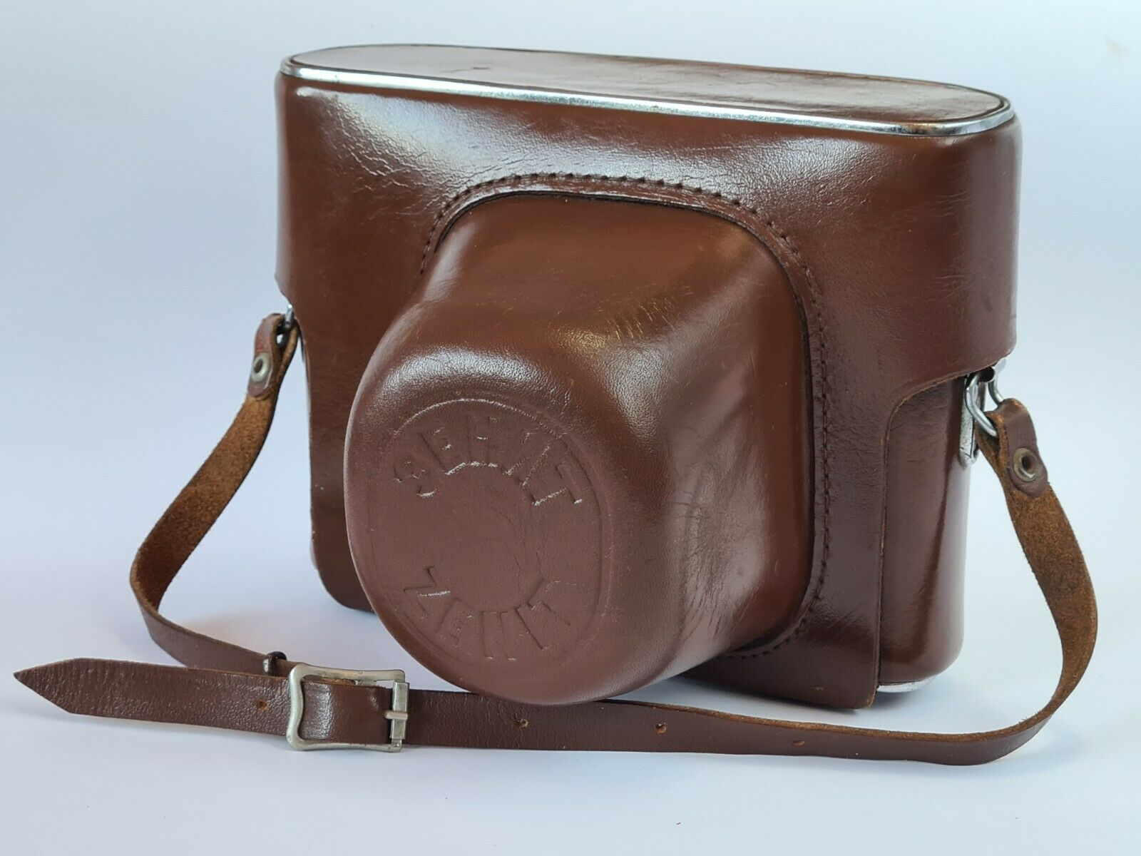 KMZ Zenit -B Brown Leather Camera Case for SLR With Hand Strap, Metal Trim, Exc+