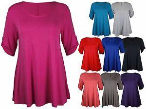 Ropa, calzado y complementos Mujeres de Talla Grande Manga Larga Elástico Liso Cuello Redondo Camiseta señoras