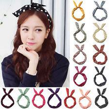 10Pcs Girls Bunny Rabbit Ear Ribbon Metal Wire Headband Scarf Hair Head Band Bow