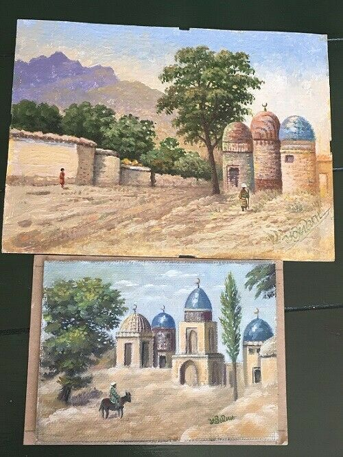 Pair 20th c. Signed Oil Paintings Religious Desert Scenes w/ Mosques 3