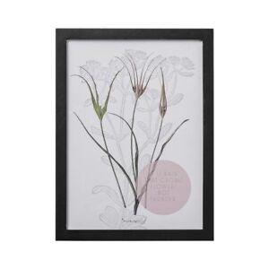 Bloomingville-Bild-mit-Rahmen-Blumen-mit-Schriftzug-Wandbild-30-x-40-cm