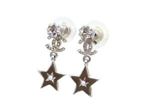Image Is Loading Authentic Vintage Chanel Stud Pierced Earrings Cc Logo