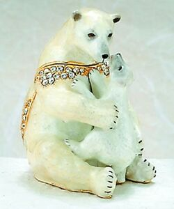 POLAR BEAR & CUB ~ BEJEWELED ENAMEL TRINKET BOX ~ #4124