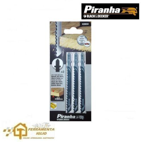 Set 3 Lame Seghetto Alternativo per Legno Taglio Grosso Piranha Black /& Decker