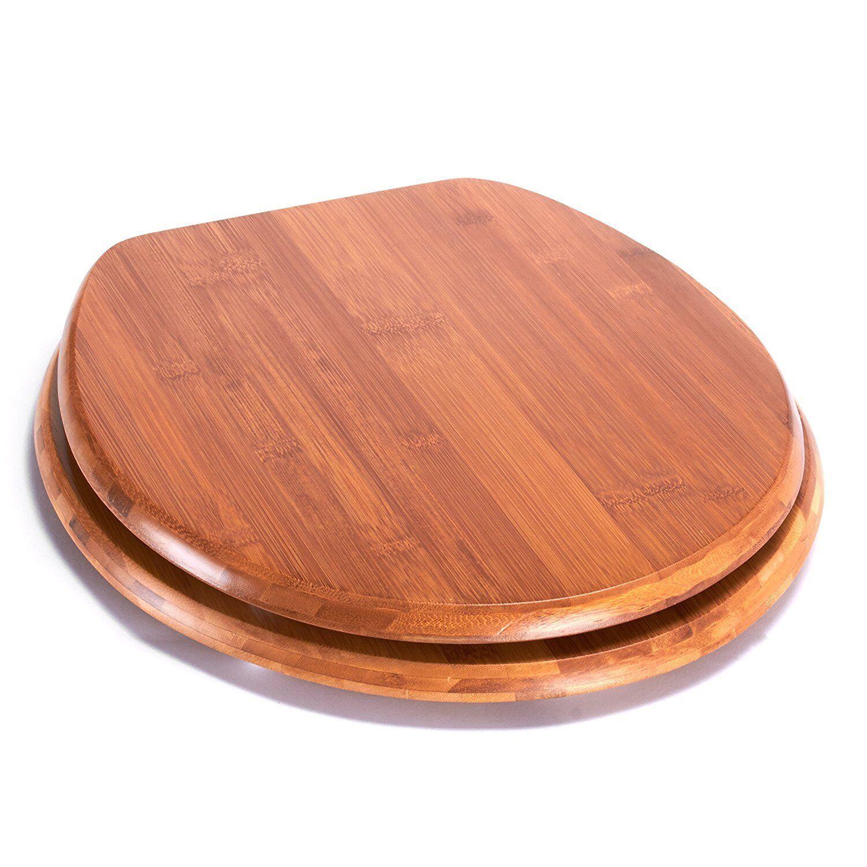 Siège de toilettes avec fixation en acier inoxydable bois 42,5x36x1,7cm Bambou