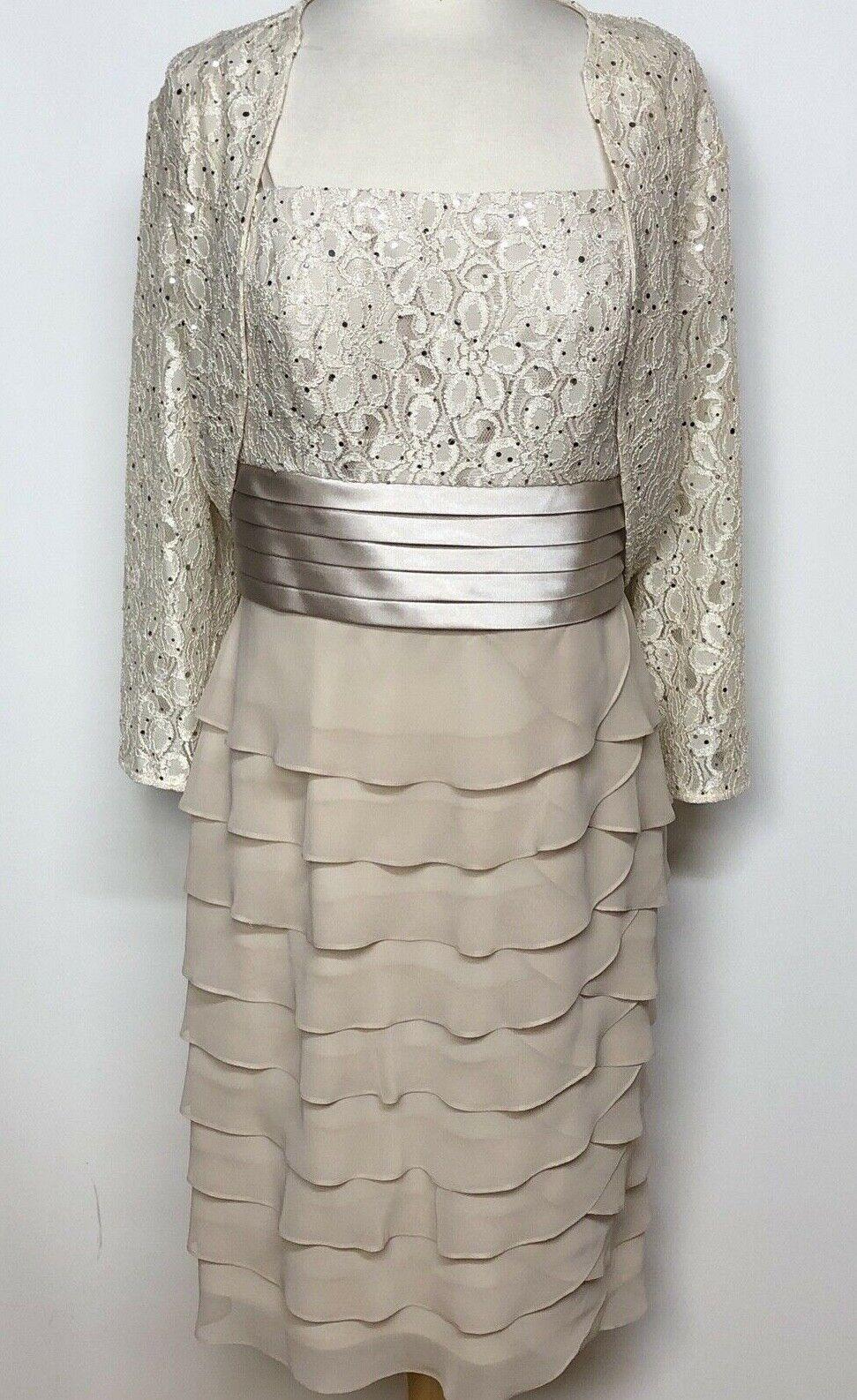 Jessica Howard Tan 2 Piece Formal Evening Prom Dress Gown Ruffles Lace Sz 12