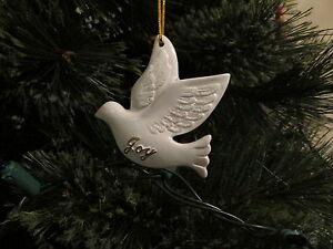 6 Resin DOVE Christmas ORNAMENTS doves JOY PEACE LOVE ...
