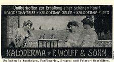Wolff & Sohn Karlsruhe KALODERMA SEIFE Historische Reklame von 1907