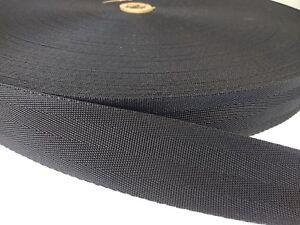 1 1//2 Inch 2 Panel Black Polypro Webbing Closeout 100 Yards